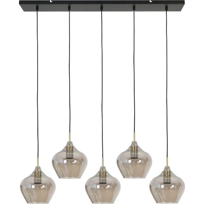 Hanglamp Rolf 5-lichts brons smoke