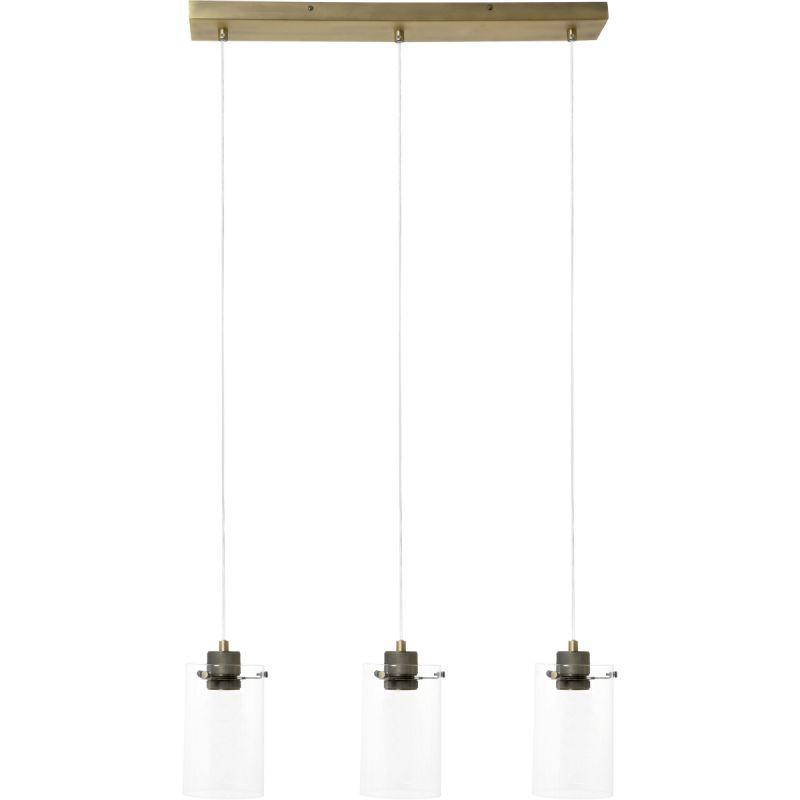 Hanglamp Vanny 3 lichts antiek brons en glas