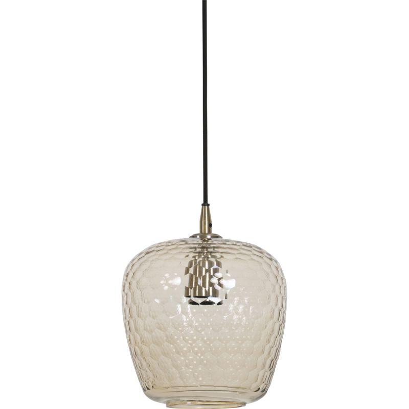 Hanglamp Dionne 20x26cm glas en antiek brons
