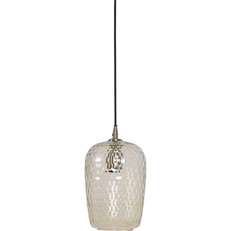 Hanglamp Dionne 17x30cm glas en antiek brons