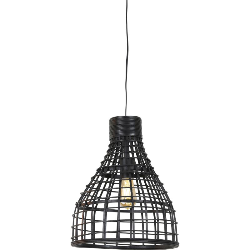 Hanglamp Porto 24x41,5cm rotan zwart